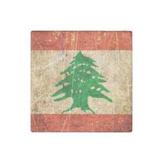 Scratched and Worn Vintage Lebanese Flag Stone Magnet