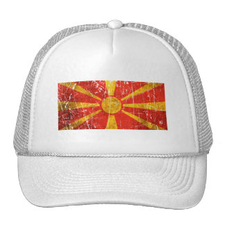 Scratched and Worn Vintage Macedonian Flag Trucker Hat
