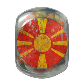 Scratched and Worn Vintage Macedonian Flag Jelly Belly Candy Jar
