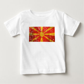 Scratched and Worn Vintage Macedonian Flag T-shirt