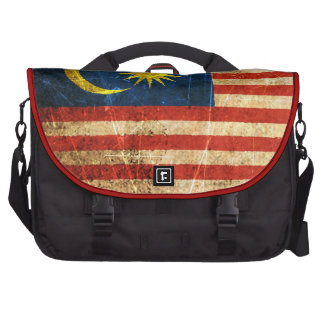 Scratched and Worn Vintage Malaysian Flag Laptop Bags