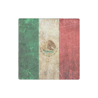 Scratched and Worn Vintage Mexican Flag Stone Magnet