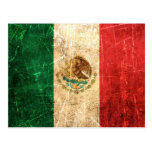 Scratched and Worn Vintage Mexican Flag Postcard