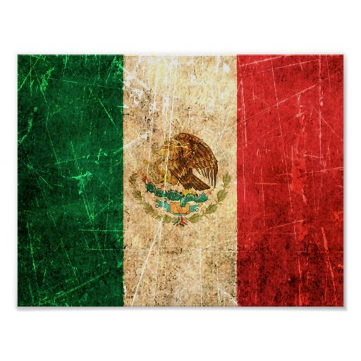 Scratched and Worn Vintage Mexican Flag Poster