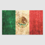 Scratched and Worn Vintage Mexican Flag Rectangular Sticker