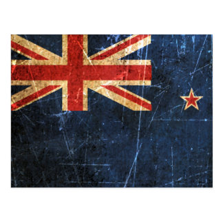 Scratched and Worn Vintage New Zealand Flag Postcard