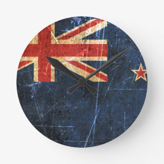 Scratched and Worn Vintage New Zealand Flag Round Wall Clocks