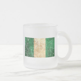 Scratched and Worn Vintage Nigerian Flag 10 Oz Frosted Glass Coffee Mug