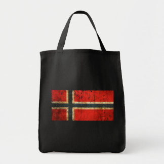 Scratched and Worn Vintage Norwegian Flag Grocery Tote Bag