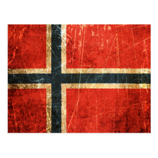 Scratched and Worn Vintage Norwegian Flag Postcard