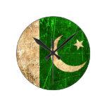 Scratched and Worn Vintage Pakistani Flag Round Wallclock