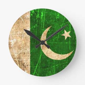 Scratched and Worn Vintage Pakistani Flag Round Clock