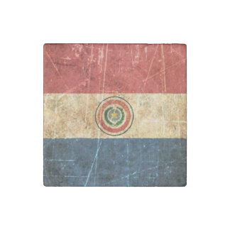 Scratched and Worn Vintage Paraguay Flag Stone Magnet