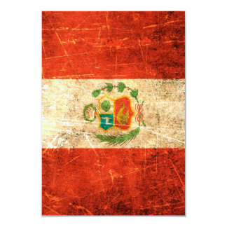 Scratched and Worn Vintage Peruvian Flag 3.5x5 Paper Invitation Card