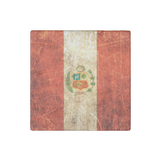 Scratched and Worn Vintage Peruvian Flag Stone Magnet