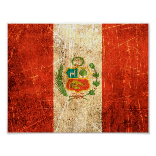Scratched and Worn Vintage Peruvian Flag Poster