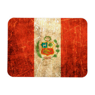 Scratched and Worn Vintage Peruvian Flag Vinyl Magnets