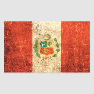 Scratched and Worn Vintage Peruvian Flag Rectangle Sticker