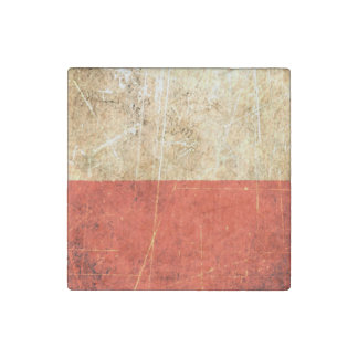 Scratched and Worn Vintage Polish Flag Stone Magnet
