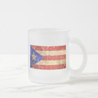 Scratched and Worn Vintage Puerto Rican Flag 10 Oz Frosted Glass Coffee Mug