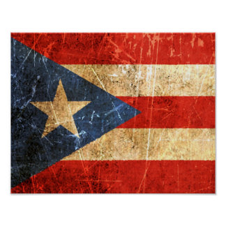 Scratched and Worn Vintage Puerto Rican Flag Poster