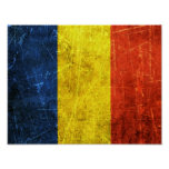 Scratched and Worn Vintage Romanian Flag Posters