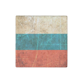 Scratched and Worn Vintage Russian Flag Stone Magnet