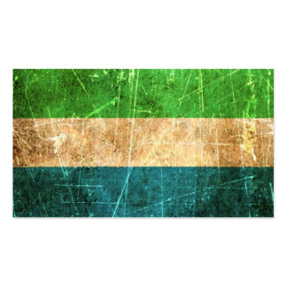 Scratched and Worn Vintage Sierra Leone Flag Business Card Template