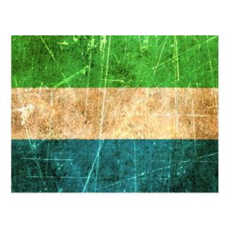 Scratched and Worn Vintage Sierra Leone Flag Postcard