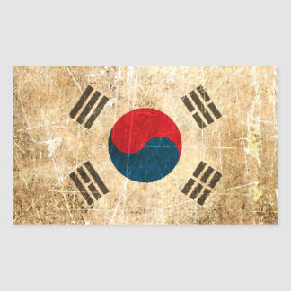 Scratched and Worn Vintage South Korean Flag Stickers