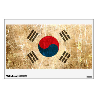 Scratched and Worn Vintage South Korean Flag Room Stickers