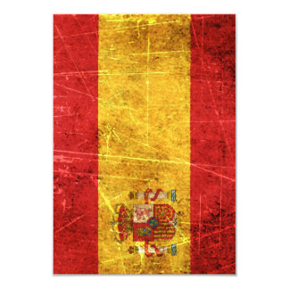 Scratched and Worn Vintage Spanish Flag Personalized Announcement