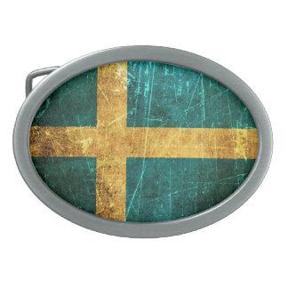 Scratched and Worn Vintage Swedish Flag Belt Buckle
