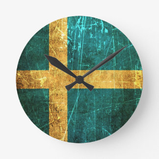 Scratched and Worn Vintage Swedish Flag Wall Clock