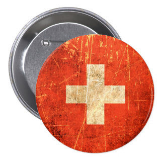 Scratched and Worn Vintage Swiss Flag 3 Inch Round Button