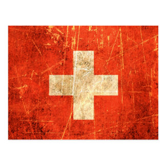 Scratched and Worn Vintage Swiss Flag Postcard