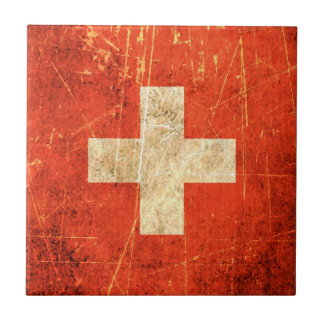 Scratched and Worn Vintage Swiss Flag Ceramic Tile