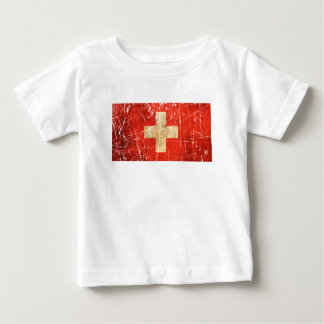 Scratched and Worn Vintage Swiss Flag Tee Shirt