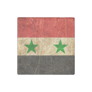 Scratched and Worn Vintage Syrian Flag Stone Magnet