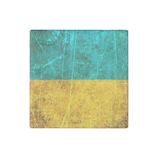 Scratched and Worn Vintage Ukrainian Flag Stone Magnet