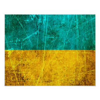 Scratched and Worn Vintage Ukrainian Flag Posters