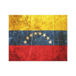 Scratched and Worn Vintage Venezuelan Flag Gallery Wrapped Canvas