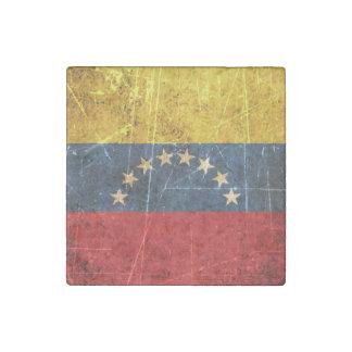 Scratched and Worn Vintage Venezuelan Flag Stone Magnet