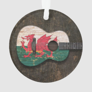 Scratched and Worn Welsh Flag Acoustic Guitar
