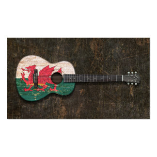 Scratched and Worn Welsh Flag Acoustic Guitar Business Card Templates