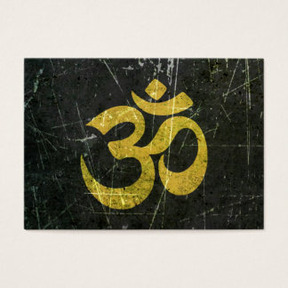 Scratched and Worn Yellow and Black Yoga Om Symbol Business Card