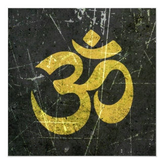 Scratched and Worn Yellow and Black Yoga Om Symbol 5.25x5.25 Square Paper Invitation Card