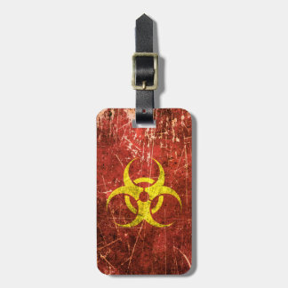 Scratched and Worn Yellow and Red Biohazard Symbol Luggage Tag