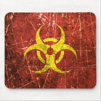 Scratched and Worn Yellow and Red Biohazard Symbol Mouse Pad