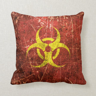 Scratched and Worn Yellow and Red Biohazard Symbol Pillows